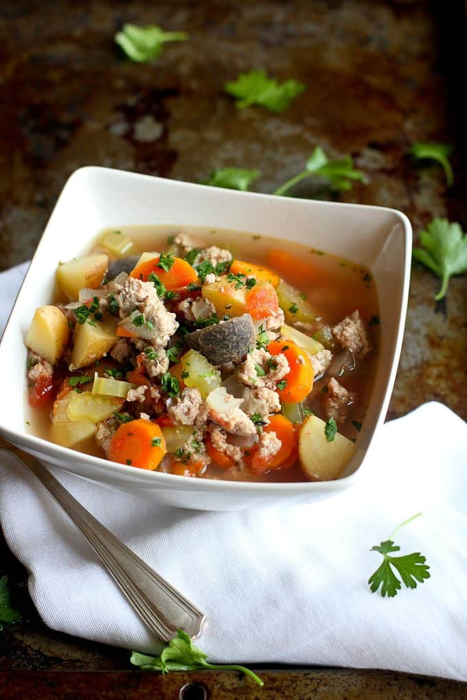 Slow Cooker Turkey Potato Soup…Light, brothy and packed with vegetables! 186 calories and 5 Weight Watchers SmartPoints