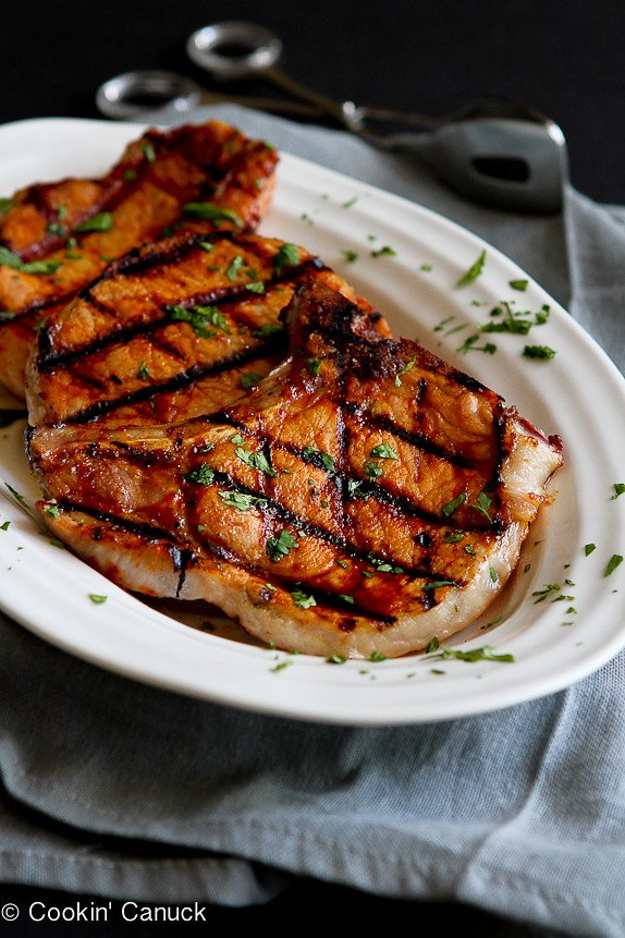 Grilled Pineapple Chili Pork Chops...No more boring and dry pork chops.  These are amazing! | cookincanuck.com #recipe #dinner