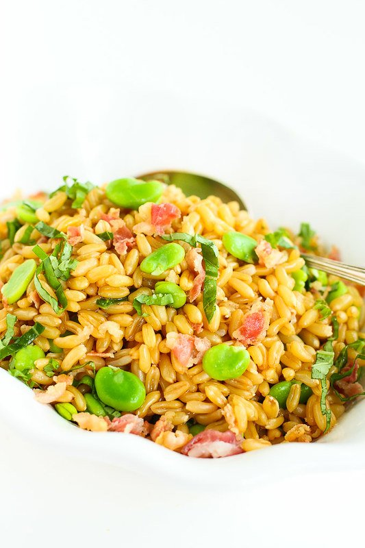Warm Fava Bean Kamut Salad with Pancetta Basil Dressing…A wonderful whole grain salad with an amazing vinaigrette! 182 calories and 4 Weight Watchers SmartPoints