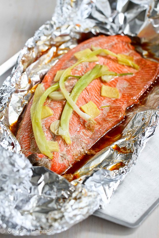 Easy Grilled Salmon in Foil with Ginger and Soy Sauce...Awesome flavor and virtually no clean-up! 231 calories and 5 Weight Watchers SmartPoints | cookincanuck.com #recipe #healthy