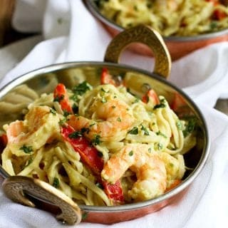 Avocado Curry Rice Noodles with Shrimp