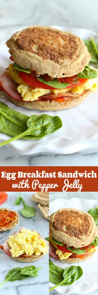 Egg Breakfast Sandwich with Pepper Jelly and Spinach…The breakfast sandwich to beat all others! 255 calories and 6 Weight Watchers SP #breakfast #eggs