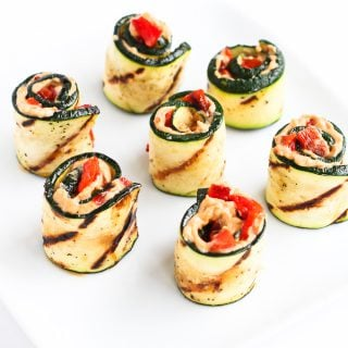 Grilled Zucchini Hummus Roll-Ups…Healthy, easy and pretty summertime appetizer! 43 calories and 1 Weight Watchers Freestyle SP