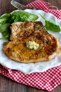 Herbed Pork Chops with Garlic Butter…Pork chops never tasted so good! 283 calories and 6 Weight Watchers Freestyle SP