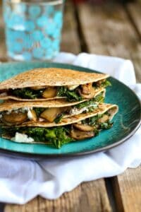 Kale, Mushroom and Goat Cheese Quesadillas…A fantastic vegetarian recipe for lunch or appetizers! 239 calories and 7 Weight Watchers Freestyle SP
