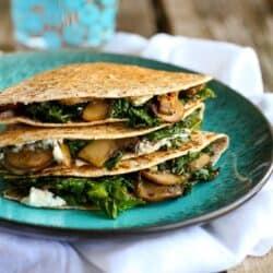 Kale, Mushroom & Goat Cheese Quesadillas Recipe