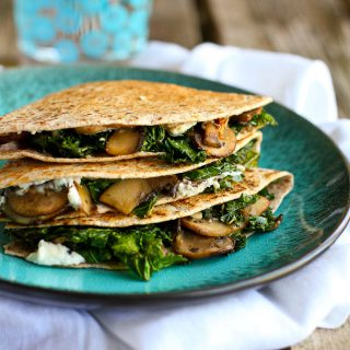 Kale, Mushroom & Goat Cheese Quesadillas Recipe