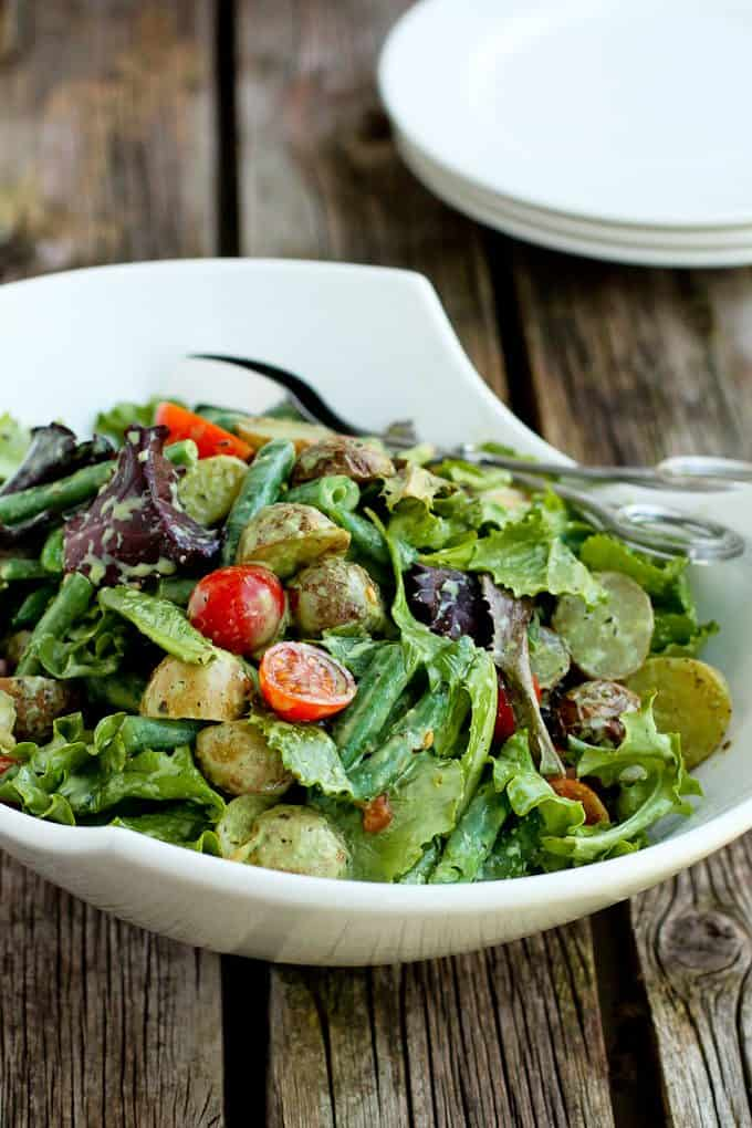Roasted Potato Green Bean Salad with Basil Buttermilk Dressing…A ...