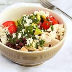 Quick Chicken Burrito Bowl Recipe with Cilantro Dressing
