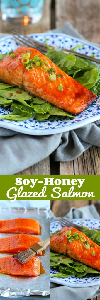 Soy Honey Glazed Salmon…Ready in 10 minutes or less, this delicious salmon is perfect for a weekday meal! 192 calories and 4 Weight Watchers SmartPoints | cookincanuck.com
