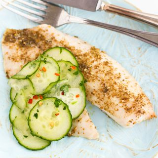 Roasted Za'atar Tilapia with Pickled Cucumbers…It may sound fancy, but this healthy dinner takes less than 30 minutes to make and is very affordable! 182 calories and 2 Weight Watchers Freestyle SP