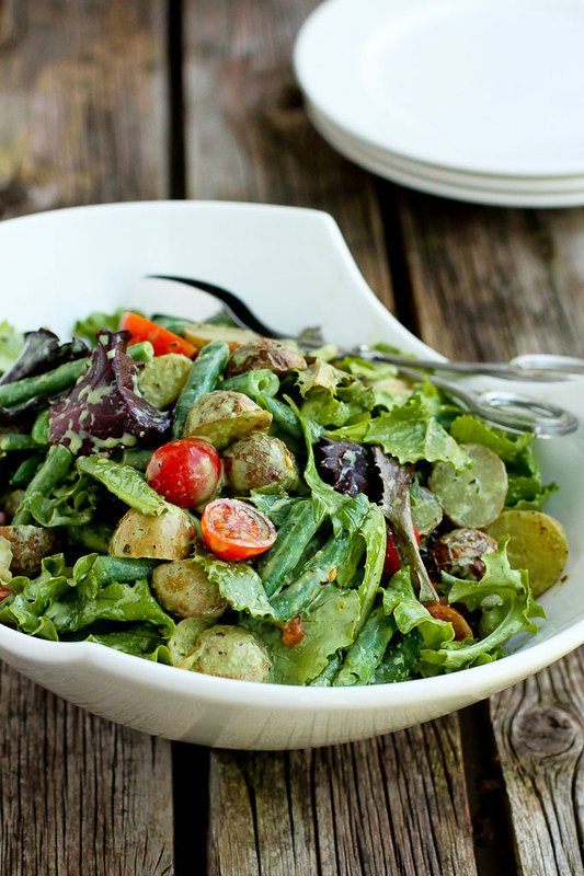 Roasted Potato Green Bean Salad with Basil Buttermilk Dressing…A hearty side salad that is perfect for summertime (or anytime of the year)! 132 calories and 3 Weight Watchers SmartPoints