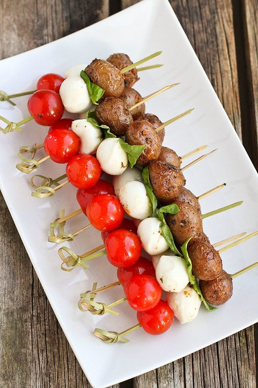 These caprese appetizer skewers are made a thousand times better with the addition of tender Creamer potatoes. Our new favorite summertime appetizer! 85 calories and 2 Weight Watchers Freestyle SP