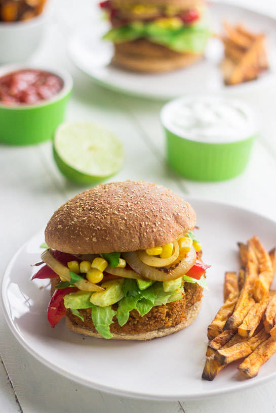 15 Healthy Burger Recipes, Meat and Meatless.  Everything from beef and turkey to salmon and black.  There is something for everyone! Sweet Potato Veggie Burger with Avocado, Corn & Peppers
