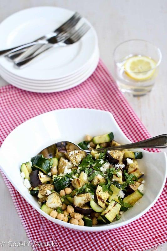 Grilled Eggplant & Zucchini Salad Recipe with Feta, Chickpeas & Mint | cookincanuck.com #vegetarian #recipe
