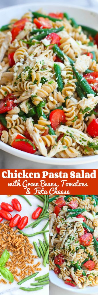 Chicken Pasta Salad with Green Beans, Tomatoes & Feta Cheese…This healthy side pasta salad with disappear in minutes at your next barbecue! 163 calories and 4 Weight Watchers SmartPoints