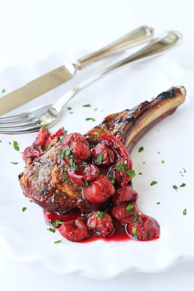 Grilled Lamb Chops with Tart Cherry Sauce…A beautiful summertime meal that's fantastic for entertaining! 268 calories and 8 Weight Watchers Freestyle SP #lamb #grilled