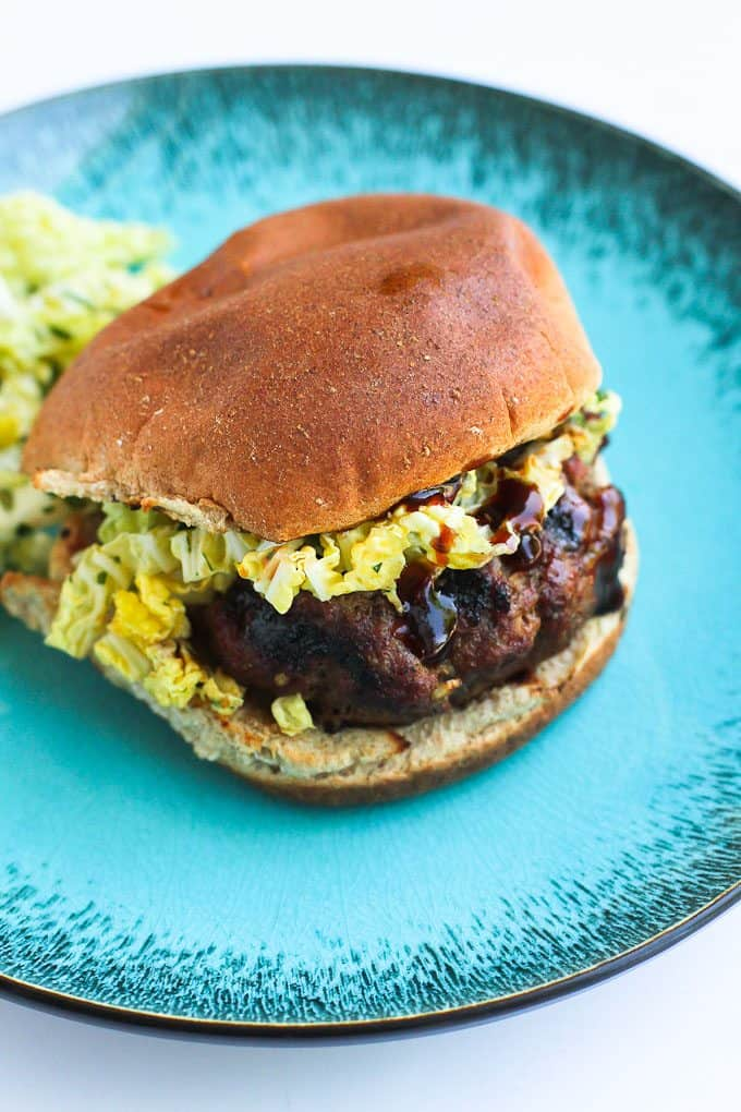 ... whip up these hoisin buffalo burgers, topped with a quick, spicy slaw
