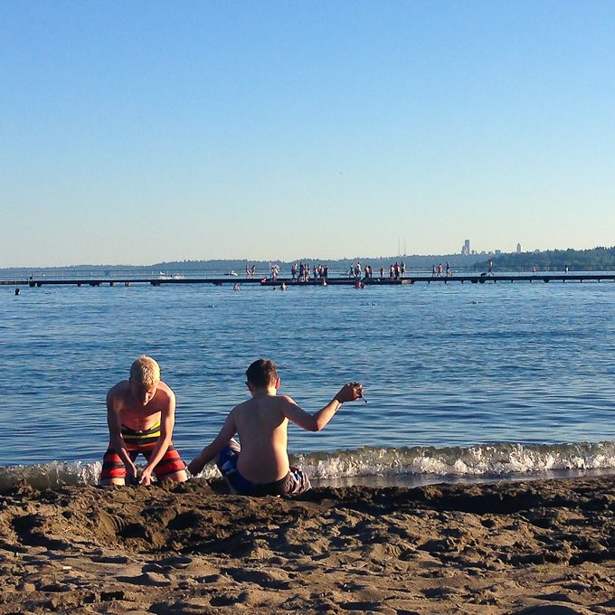 The boys - Lake Washington beach