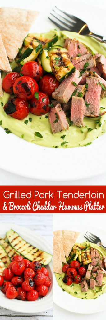 Grilled Pork Tenderloin & Broccoli Cheddar Hummus Platter…A fun take on a Middle Eastern dinner platter. And no one will ever guess what's in the hummus! 366 calories and 6 Weight Watchers Freestyle SP