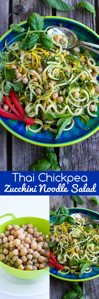 Thai Chickpea Zucchini Noodle Salad…Fantastic flavors in this healthy recipe! 143 calories and 2 Weight Watchers Freestyle SP