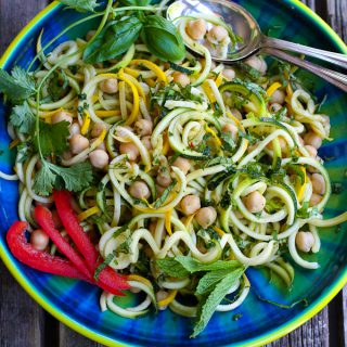 Thai Chickpea Zucchini Noodle Salad Recipe