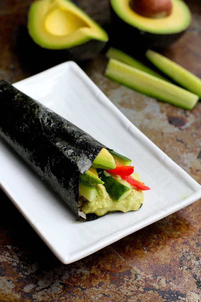 Creamy avocados do double duty in this vegetable hand roll (temaki ...