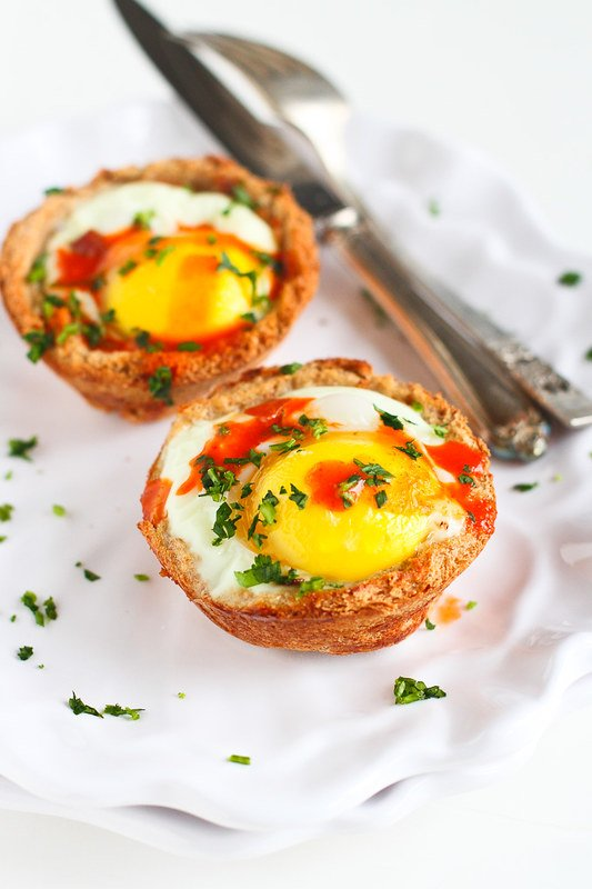 Vegetable Egg and Toast Cups…A fun vegetarian for a weekend breakfast or brunch! 129 calories and 4 Weight Watcher SmartPoints!