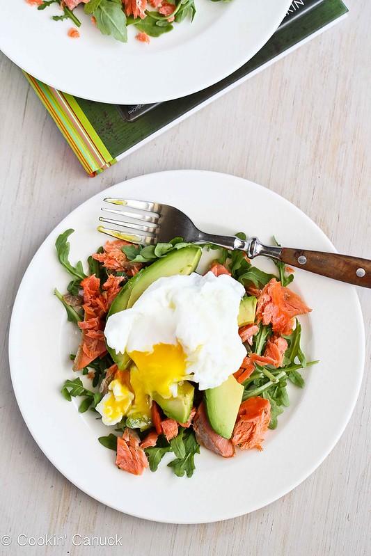 Poached Eggs Over Avocado & Smoked Salmon | cookincanuck.com #recipe #avocado