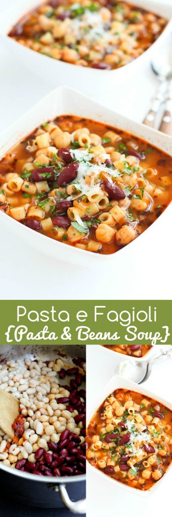 Pasta e Fagioli – A classic Italian pasta and bean soup with plenty of flavor and heart healthy fiber and protein! 242 calories and 5 Weight Watchers Freestyle SP