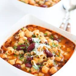 You can't beat the simplicity of pasta e fagioli, aka Italian pasta and bean soup. It's comforting, healthy and will have your family begging for more. 242 calories and 5 Weight Watchers Freestyle SP #soup #pasta #beans