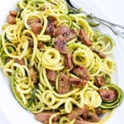 Pesto Zucchini Noodles Recipe with Chicken Sausage