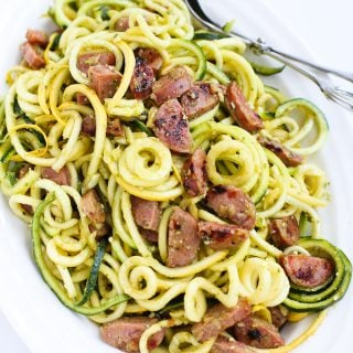 Pesto Zucchini Noodles with Chicken Sausage…Only 6 ingredients! When you're craving pesto pasta, but want a light and healthy recipe. 205 calories and 4 Weight Watchers Freestyle SP #zoodles #lowcarb