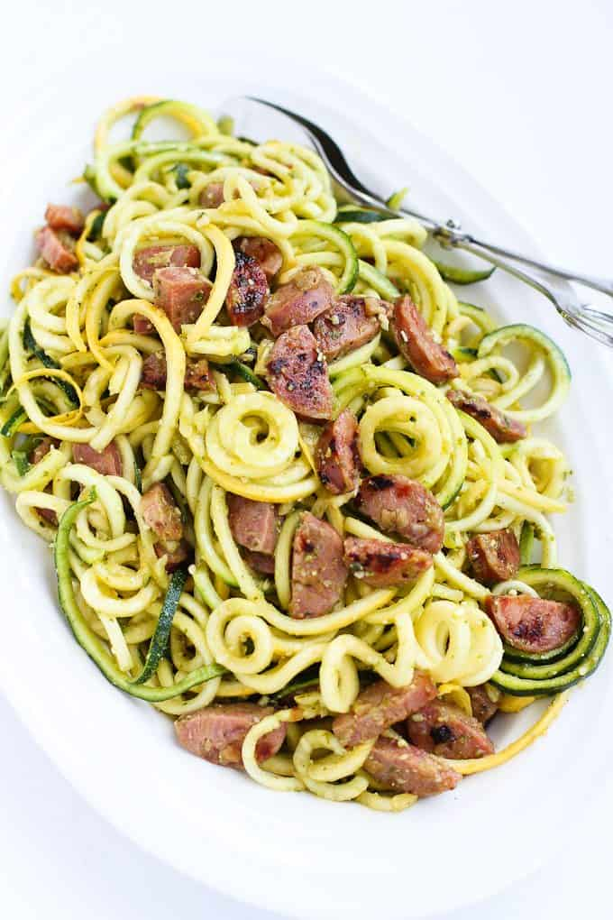 Pesto Zucchini Noodles Recipe with Chicken Sausage ...