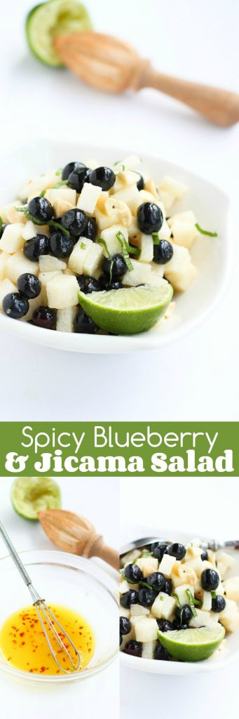 Spicy Blueberry Jicama Salad Recipe with Cashews…Spicy, crunchy, refreshing – this summertime salad is perfect for potluck barbecues. 84 calories and 2 Weight Watchers Freestyle SP