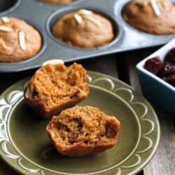 Whole Wheat Muffins, like these ones with tart cherries and almonds, are just the thing to have tucked in the freezer when you need a quick breakfast or snack option. 142 calories and 5 Weight Watchers Freestyle SP #muffins #healthy