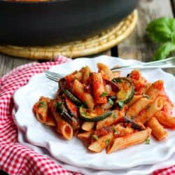 Roasted Vegetable Puttanesca Pasta…There's so much flavor in every bite of this healthy pasta recipe! 363 calories and 7 Weight Watchers SmartPoints