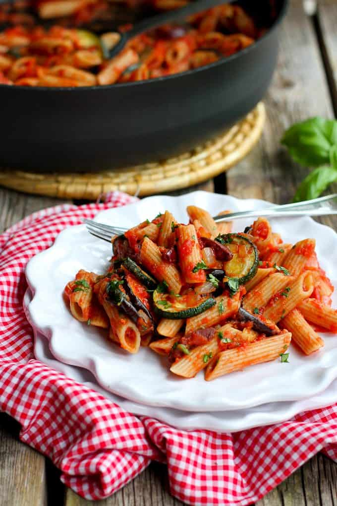 Roasted Vegetable Puttanesca Pasta…There's so much flavor in every ...