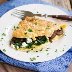 Kale, Goat Cheese & Mushroom Omelet Recipe