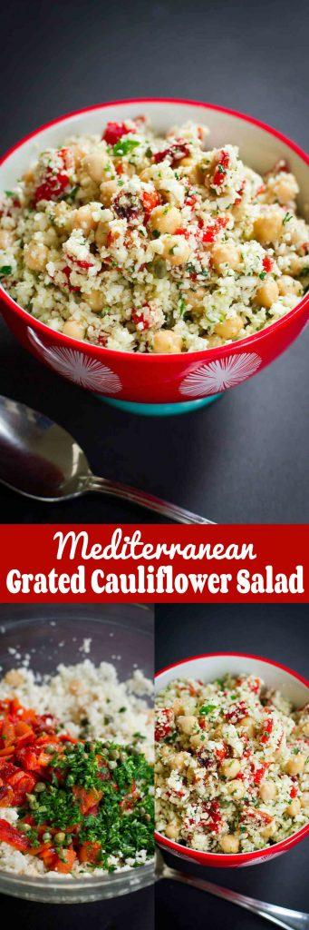 Mediterranean Grated Cauliflower Salad with ChickpeasCookin Canuck