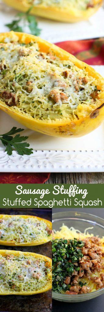 Sausage Stuffing Stuffed Spaghetti Squash…All the flavors of our favorite Thanksgiving stuffing mixed into healthy spaghetti squash! 343 calories and 9 Weight Watchers Freestyle SP