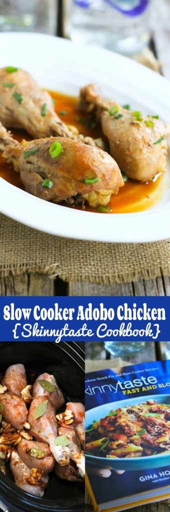 Slow Cooker Adobo Chicken from Skinnytaste's new cookbook...So much flavor with very little effort! 276 calories and 6 Weight Watchers SmartPoints