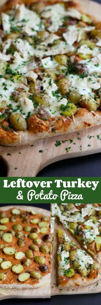 Leftover Turkey (or Chicken) & Potato Pizza…Use up your leftover Thanksgiving turkey or chicken breasts in this flavorful whole wheat pizza! 269 calories and 8 Weight Watchers SmartPoints