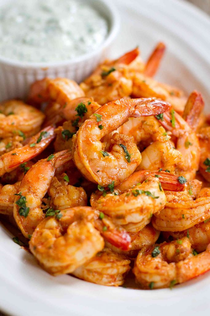 Chili Lime Shrimp with Cilantro Yogurt Sauce…Spice up the appetizer table at your next cocktail or holiday party with these plump, delicious shrimp! 87 calories and 2 Weight Watchers SmartPoints