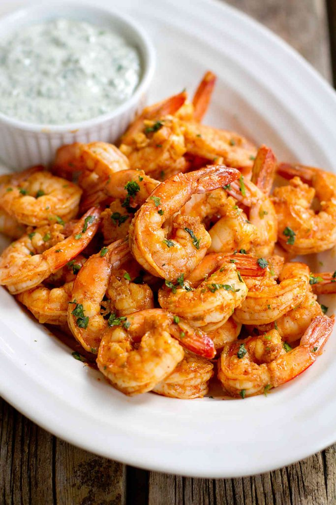 Chili Lime Shrimp with Cilantro Yogurt Sauce…Spice up the appetizer table at your next cocktail or holiday party with these plump, delicious shrimp! 87 calories and 1 Weight Watchers Freestyle S