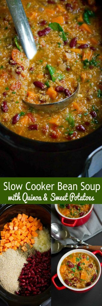 This Slow Cooker Bean Soup with Quinoa and Sweet Potatoes is packed with fiber and flavor. Throw everything in the crockpot and walk away! 218 calories and 4 Weight Watchers Freestyle SP