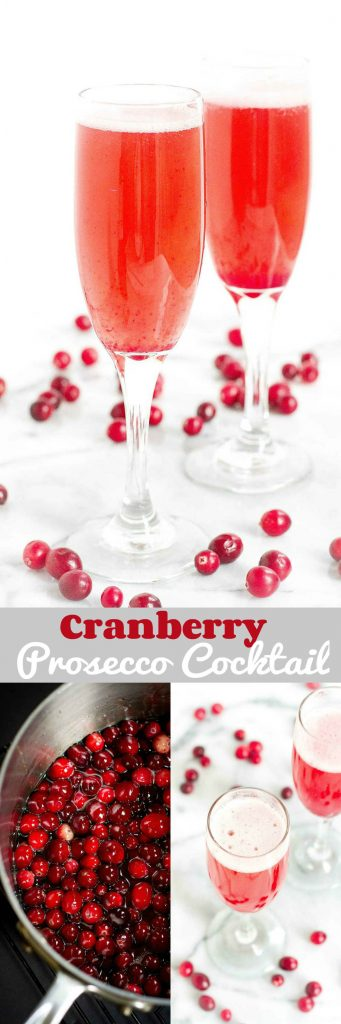 Raise a glass to the holidays with this Cranberry Prosecco Cocktail! Nothing but natural sweeteners in the syrup. 197 calories and 8 Weight Watchers Freestyle SP #champagne #cranberry #cocktails