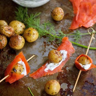 Only five ingredients needed to make these flavorful Smoked Salmon and Roasted Potato appetizer skewers. 52 calories and 1 Weight Watchers SmartPoint