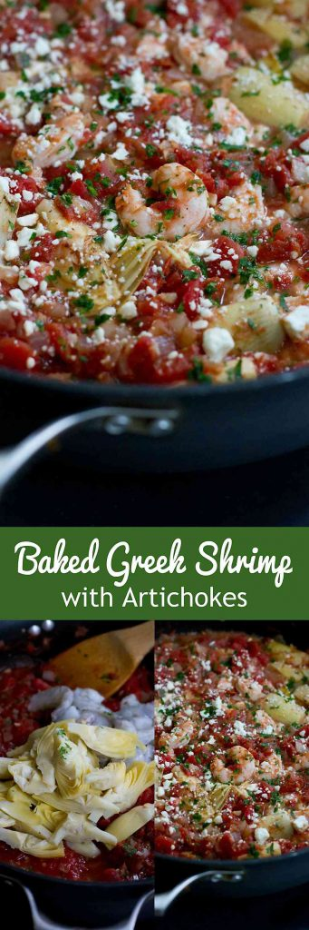 This Baked Greek Shrimp with artichokes is fantastic served over rice, pasta or quinoa! A quick and easy dinner recipe. 204 calories and 2 Weight Watchers Freestyle SP