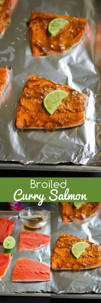Only 6 ingredients needed for this delicious, healthy curry salmon that can be made in minutes under the broiler! 320 calories and 7 Weight Watchers SmartPoints